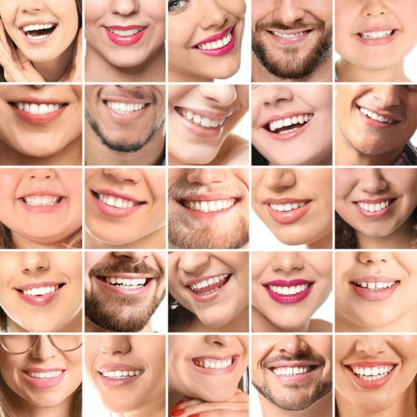 Collage of photos with different smiling people, closeup